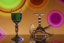 Free Wine Glasses On Colorful Background Stock Image - 14472111