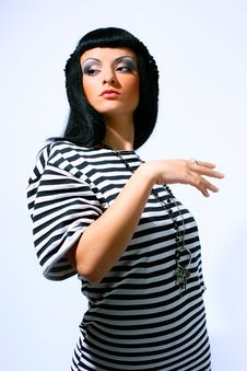 Free Woman Posing In A Striped Top Stock Photography - 14472512
