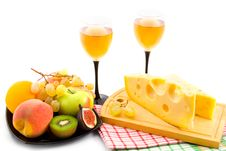 Wine, Cheese And Fruits Stock Photography