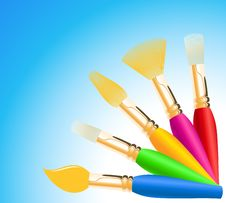 Free Colored Paintbrushes Stock Photos - 14473933