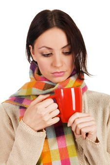 Yougn Beautiful Woman With A Cup Of Tea Stock Photos