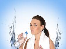 Free A Young And Sporty Female Is Drinking Water Royalty Free Stock Image - 14474316