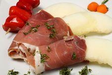 Melon, Bacon, Paprika And Herbs Royalty Free Stock Photos