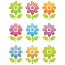 Free Set Of 9 Flowers Icons Stock Photo - 14474390