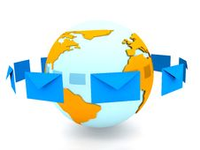 Free Envelope With Globe Sign Over White Stock Image - 14474491