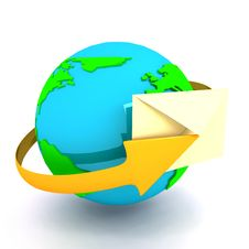 Envelope With Globe Sign Over White