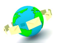 Free Envelope With Globe Sign Over White Royalty Free Stock Photo - 14474505