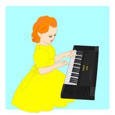 Free Little Girl And Electronic Keyboard Stock Photo - 14474990