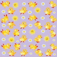Free Lilac Background With Ducklings Royalty Free Stock Image - 14478956