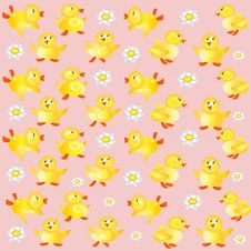 Free Pink Backgroundwith Ducklings Royalty Free Stock Photography - 14479847