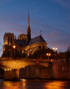 Free Notre Dame And Bridge, Paris, France Royalty Free Stock Image - 14480066