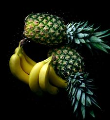 Free Bananas And Pineapple On Black Background Stock Image - 14481231
