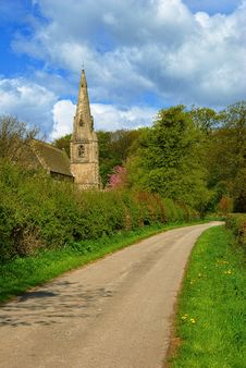 Free Church Tower On A Country Lane Stock Photography - 14481292