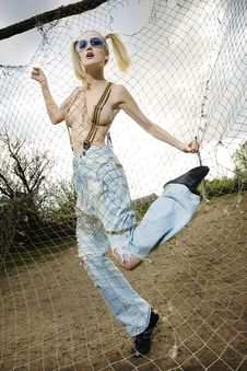 Fashion Model Behind Net Webbing Stock Photos