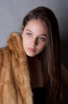 Free Pretty Teenage Model In Fur Coat Stock Photos - 14484163