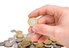 Free One Euro Coin In Hand. Stock Photos - 14484403