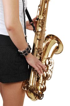 Chinese Girl Playing The Saxophone.
