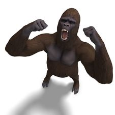 Free Gorilla Roaring. 3D Rendering With Clipping Path Stock Photos - 14485043