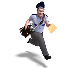 Free Very Sweet Postman Running To You. 3D Rendering Stock Photos - 14485093