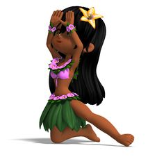 Free Very Cute Hawaiin Cartoon Girl Is Dancing For Stock Image - 14485121