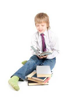 Free Young Boy Reading Book Royalty Free Stock Images - 14485159