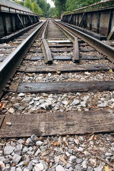 Free Railroad Tracks Over A Bridge Royalty Free Stock Images - 14485489