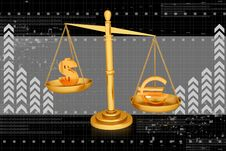 Balancing Scale  Euro And Dollar Stock Images
