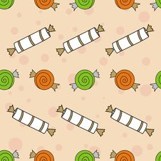 Free Seamless Sweets Pattern With Candies Stock Photography - 14487652