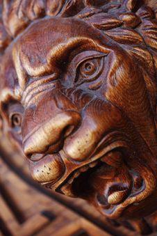 Big Wooden Head Of Lion