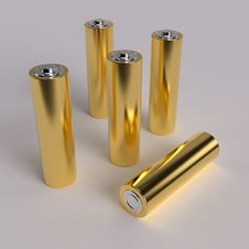 Free Gold AA Batteries Stock Photography - 14489232