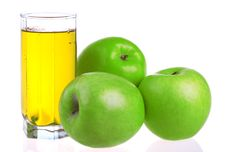 Free Glass Of Apple Juice With Apples Stock Image - 14489631