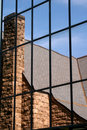 Free Church Reflection In A Glass Window Royalty Free Stock Image - 14490456