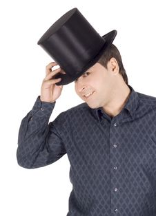 Free Cheerful Man In Top Hat (cylinder) Royalty Free Stock Photo - 14490085