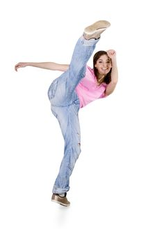 Free Teenage Girl Dancing Hiphop Over White Royalty Free Stock Images - 14490119