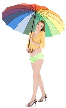 Free Lady Posing With Color Umbrella Royalty Free Stock Image - 14490156