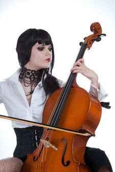Free Attractive Girl Playing Cello Stock Images - 14490354