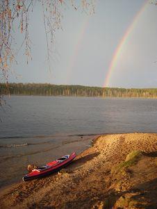 Free Kayak Travel Under Double Rainbow Stock Photo - 14490410