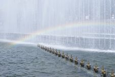 Fountain And Rainbow Stock Photography