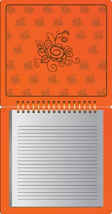 Free Orange Notebook With Flower Ornament Royalty Free Stock Photography - 14490867