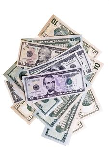 Free Dollar Denominations Isolated On A White Backgroun Stock Images - 14491334