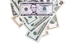 Free Dollar Denominations Isolated On A White Backgroun Royalty Free Stock Photos - 14491348