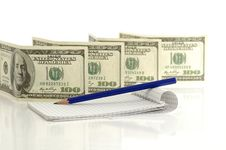 Free Dollar Notes And Note Pad Royalty Free Stock Photography - 14491377