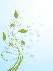 Free Abstract Background With Butterflies Royalty Free Stock Photo - 14491715