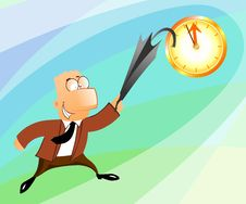 Free Businessman Jumping At The Clock Royalty Free Stock Photos - 14491848