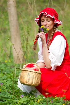 Free Red Riding Hood In The Wood Royalty Free Stock Image - 14492516