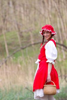 Red Riding Hood In The Wood Stock Photography
