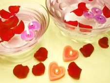 Free Spa Candles Red Rose Petals Stock Photography - 14493832