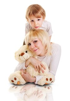 Young Mother And Little Son Stock Image