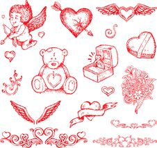 Free Valentine S Day Hand Drawn Illustration Stock Photo - 14495910