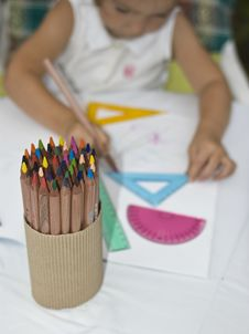 The Bunch Of Crayons Royalty Free Stock Image